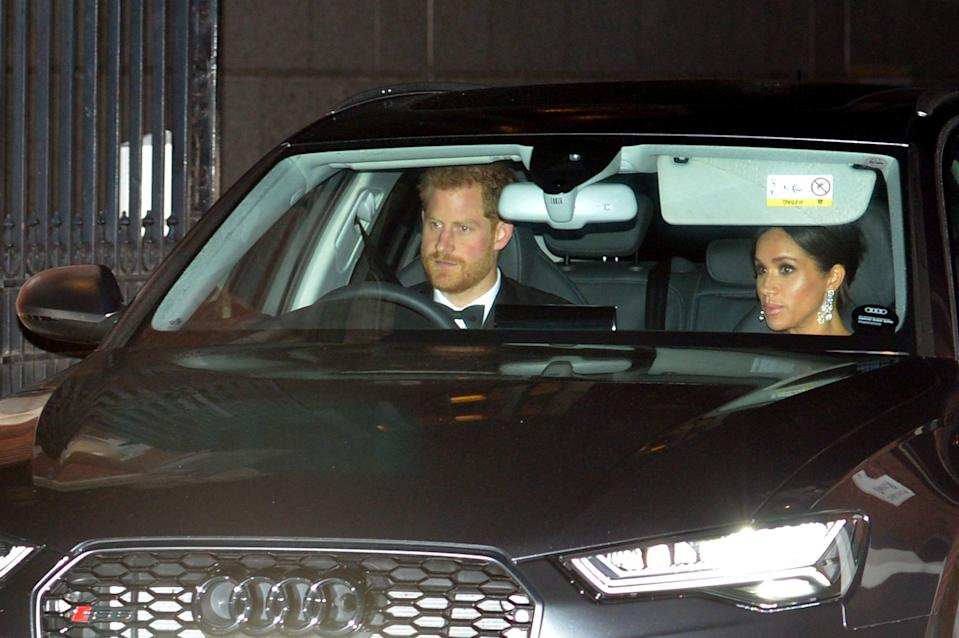 The Duke and Duchess of Sussex were also pictured on their way to Buckingham Palace [Photo: Getty]