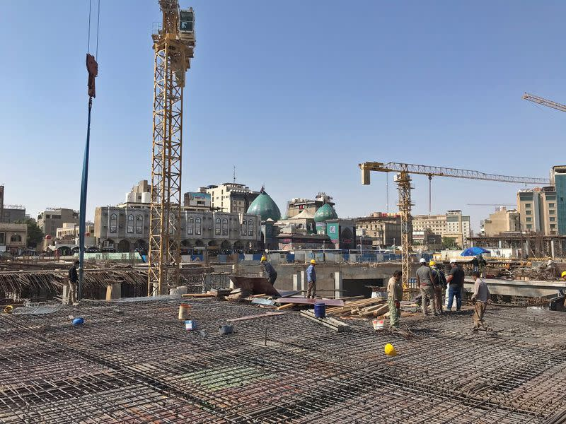Iranian labourers and engineers work on the Sahn al-Aqila project, a vast expansion to the area adjacent to the Imam Hussein shrine that will be used to welcome mostly Shi'ite Muslim pilgrims in Kerbala