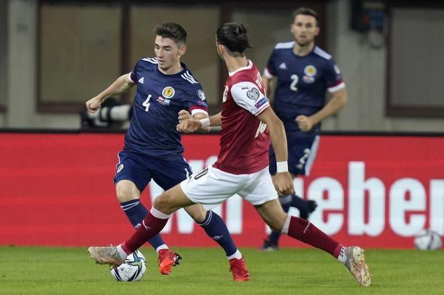 Billy Gilmour on the ball for Scotland