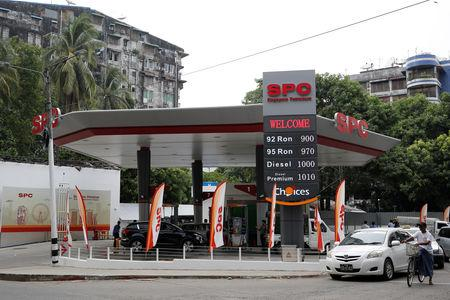 Singapore Petroleum Company Ltd a petrol station owned by PetroChina, China's top energy group which became the first major foreign investor in Yangon, Myanmar, May 9, 2019. REUTERS/Ann Wang/File Photo