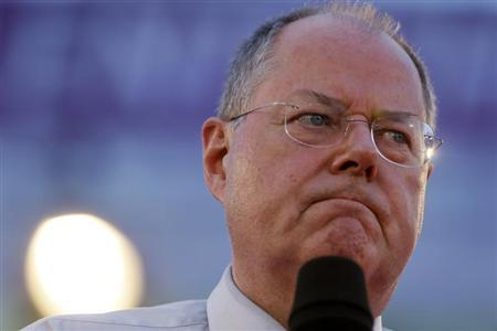 Steinbrueck of Social Democratic Party addresses an election campaign rally in Essen