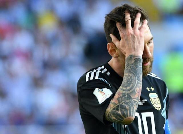 Argentina's forward Lionel Messi reacts at the end of the Russia 2018 World Cup Group D football match between Argentina and Iceland, after the South American giant tied with the small island 1-1 (AFP Photo/Mladen ANTONOV)