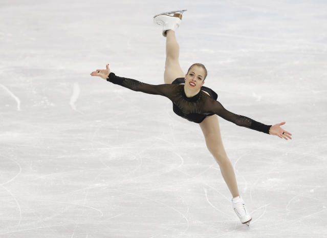 Carolina Kostner of Italy competes in the women's free skate figure skating finals at the Iceberg Skating Palace during the 2014 Winter Olympics, Thursday, Feb. 20, 2014, in Sochi, Russia. (AP Photo/Darron Cummings)