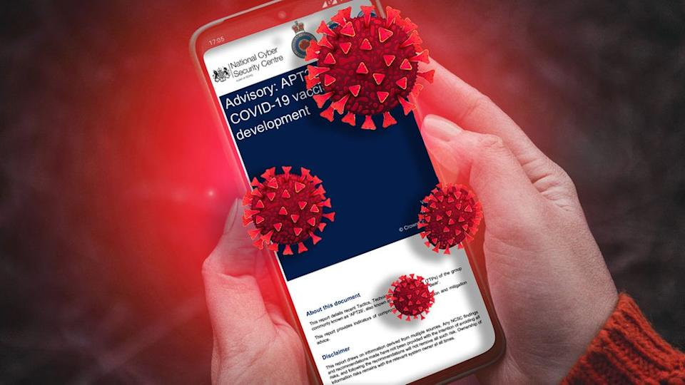 A person reads the NCSC security advisory on a phone, while illustrations of coronavirus pepper the area around it