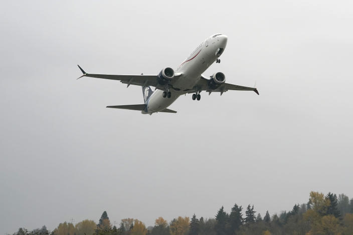 A Boeing 737 Max 9 built for Aeromexico takes off from Renton Municipal Airport, Wednesday, Nov. 18, 2020, in Renton, Wash. After nearly two years and a pair of deadly crashes, the U.S. Federal Aviation Administration announced Wednesday that the 737 Max has been cleared for flight after regulators around the world grounded the Max in March 2019, after the crash of an Ethiopian Airlines jet. (AP Photo/Ted S. Warren)