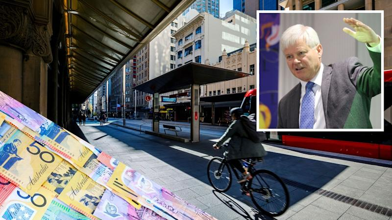 Pictured: Australian cash, Australian street with man on bike, economist Chris Richardson. Images: Getty