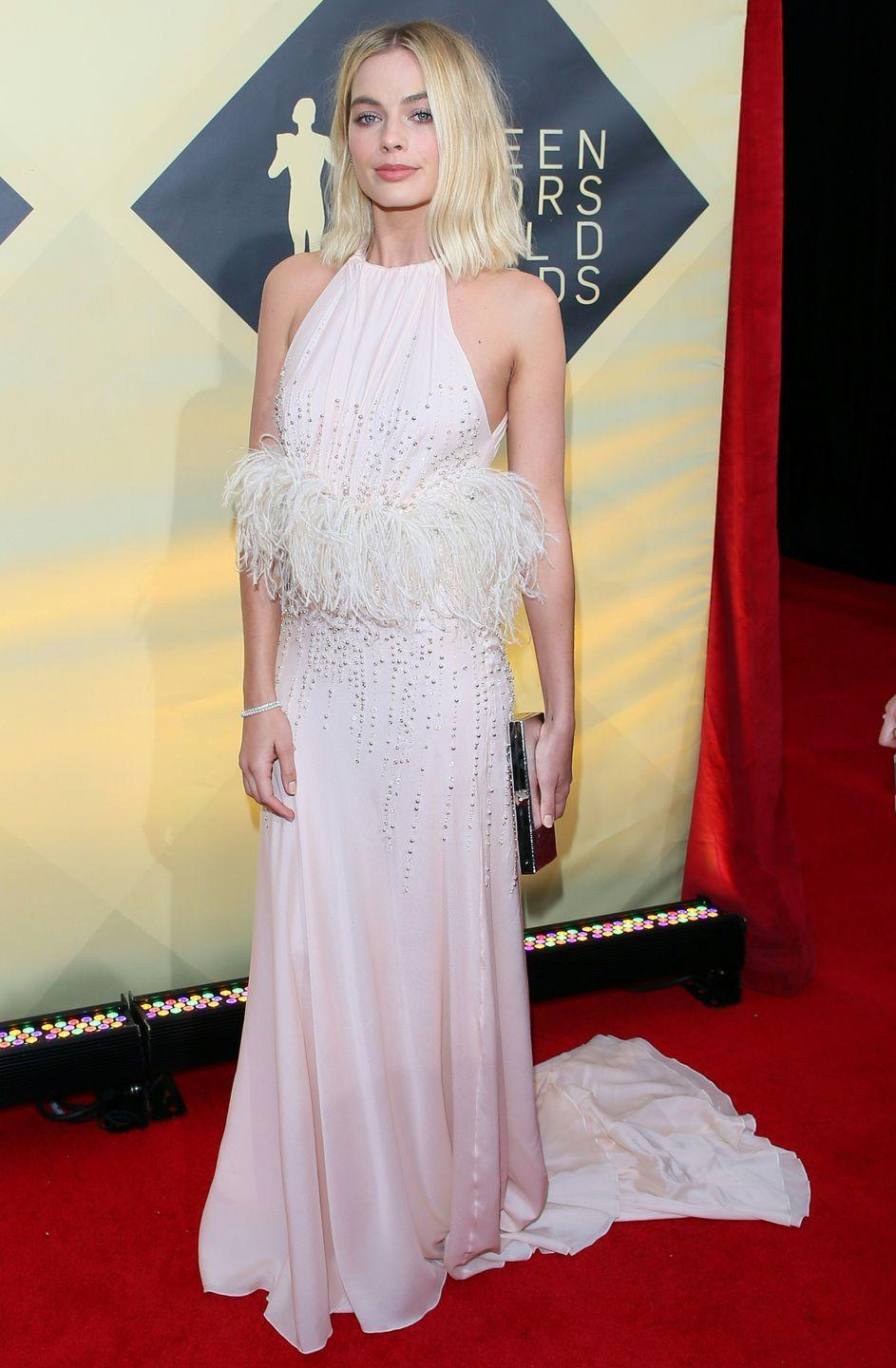 <p>The newly-married star wore a soft pink Miu Miu gown to the 2018 SAG awards </p>