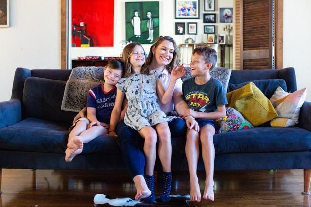 Sinead Quinn with her three kids. Her son Torryn has Down syndrome. (Georgia Glennon Photography)