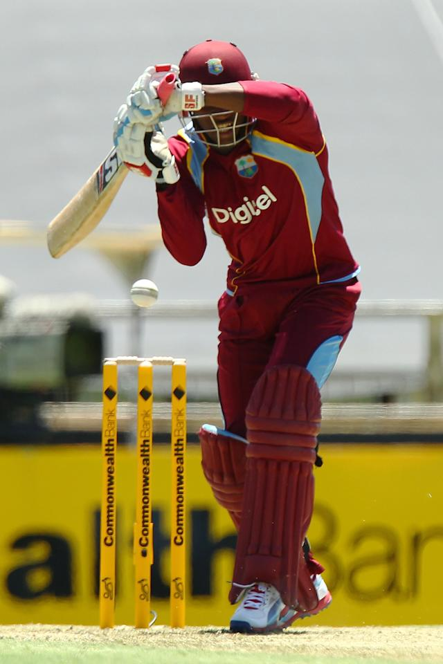PERTH, AUSTRALIA - FEBRUARY 01: Dwayne Bravo of the West Indies bats during game one of the Commonwealth Bank One Day International Series between Australia and the West Indies at WACA on February 1, 2013 in Perth, Australia.  (Photo by Will Russell/Getty Images)