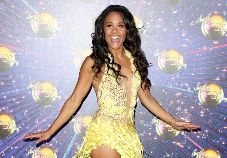 """LONDON, ENGLAND - AUGUST 26:  Alex Scott attends the """"Strictly Come Dancing"""" launch show red carpet at Television Centre on August 26, 2019 in London, England. (Photo by Lia Toby/Getty Images)"""