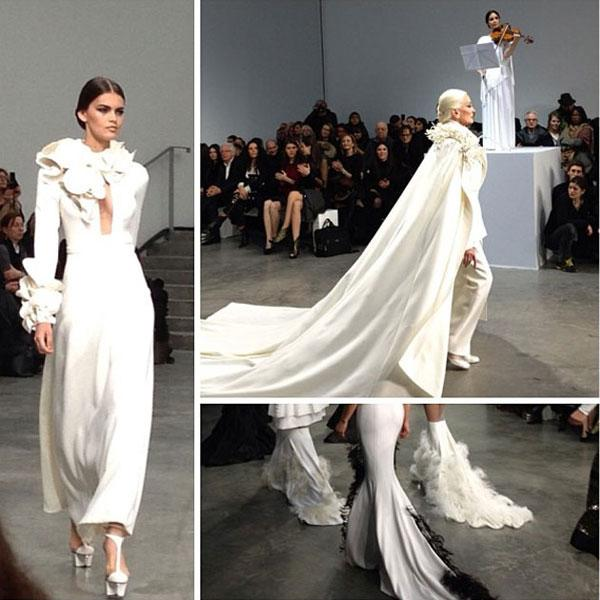 "Kim Kardashian wrote 'What an amazing Stephane Rolland show!!!!' as she viewed the collection at <a target=""_blank"" href=""http://uk.lifestyle.yahoo.com/photos/paris-haute-couture-fashion-week-in-pictures-slideshow/"">Paris Haute Couture Fashion Week</a>.<br><br>© Kim Kardashian / Instagram"