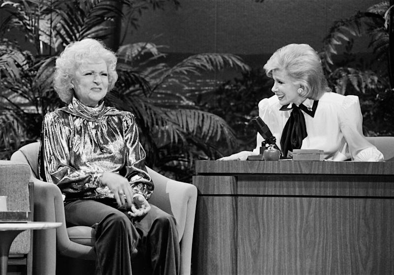 "Betty White during an interview with guest host Joan Rivers on ""The Tonight Show"" on January 27, 1986. (Paul Drinkwater/NBC/NBCU Photo Bank via Getty Images)"