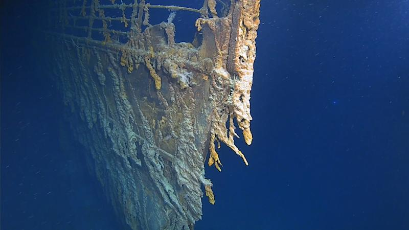Undated handout photo issued by Atlantic Productions of new images of the bow of the RMS Titanic in her resting place at the bottom of the North Atlantic Ocean taken during a survey of the wreckage from a manned submersible on an expedition in early August.