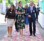 <p>Perfect for the event, Duchess Kate arrived at the Chelsea Flower show in an emerald Rochas floral dress and a pair of nude pumps. </p>