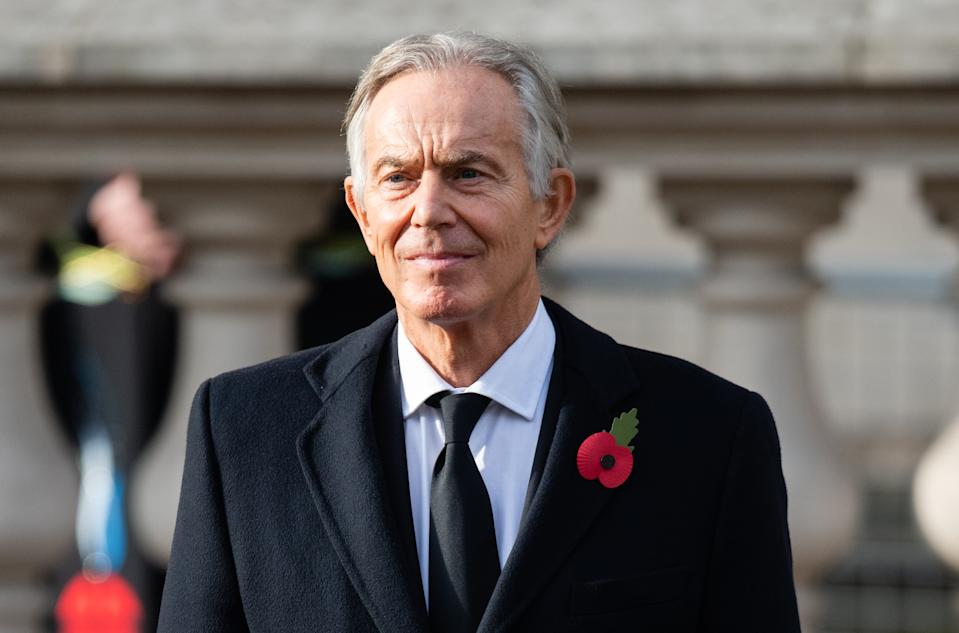 LONDON, ENGLAND - NOVEMBER 08:  Tony Blair during the National Service of Remembrance at The Cenotaph on November 08, 2020 in London, England. (Photo by Pool/Samir Hussein/WireImage)