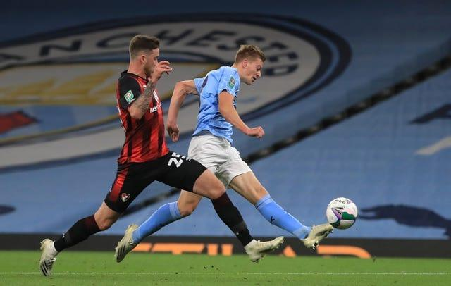 Teenager Liam Delap scored on debut as City began their run to Wembley against Bournemouth
