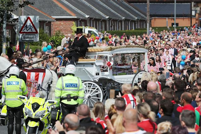 <p>The coffin of Bradley Lowery, the six-year-old football mascot whose cancer battle captured hearts around the world, arrives for his funeral </p>