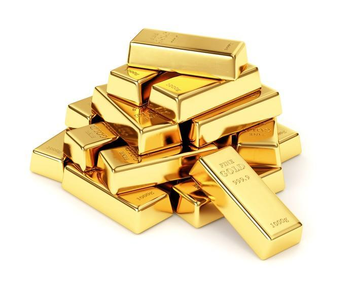 A stack of gold bars.