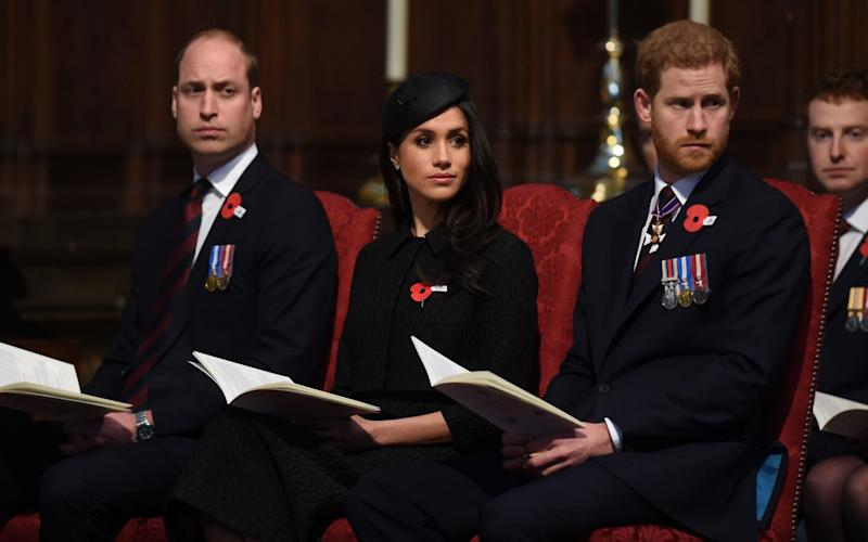 The Duke of Cambridge, Meghan Markle and Prince Harry during the Anzac Day service - eddie_mulholland@hotmail.com