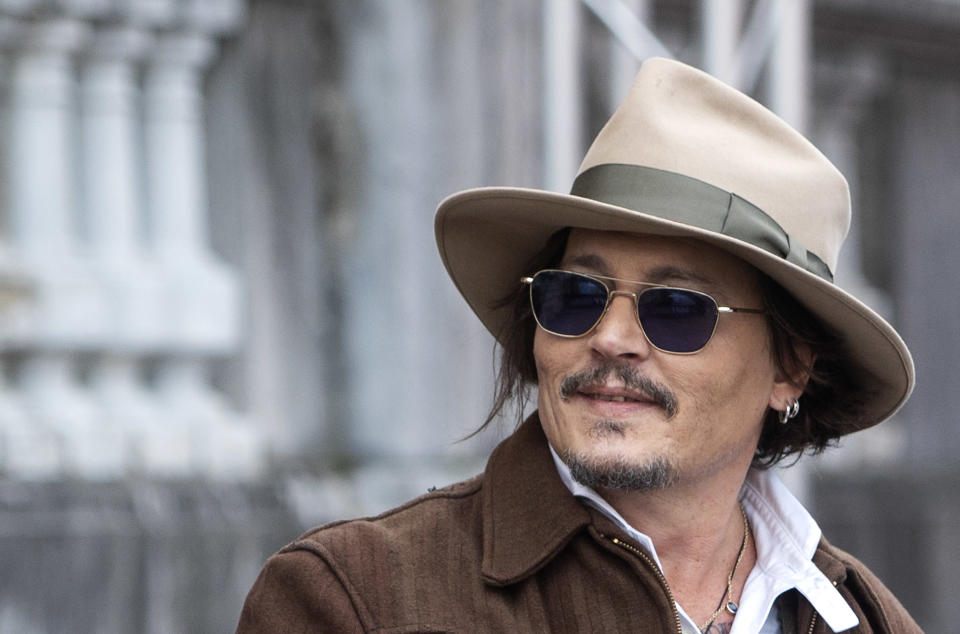 SAN SEBASTIAN BASQUE COUNTRY, SPAIN - SEPTEMBER 23: Actor Johnny Depp leaves the Maria Cristina Hotel on September 23, 2021, in San Sebastian, Basque Country, Spain. The American actor received this Wednesday the Donostia Award at the 69th edition of the San Sebastian International Film Festival 2021 for being considered ''one of the most talented and versatile actors of contemporary cinematography''. The interpreter receives the award a year after his visit to the Zinelmadia where he presented 'Drinking with Shane MacGowan', a film with which he won the Special Jury Prize. (Photo By Alberto Ortega/Europa Press via Getty Images)