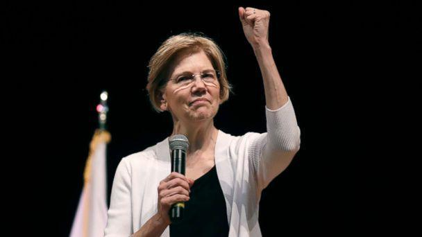 PHOTO: Sen. Elizabeth Warren gestures during a town hall style gathering in Woburn, Mass., Aug. 8, 2018. (Charles Krupa/AP)