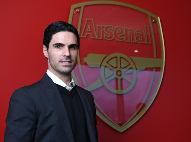New Arsenal Head Coach Mikel Arteta is unveiled at the club's London Colney training ground. (Photo by Stuart MacFarlane/Arsenal FC via Getty Images)