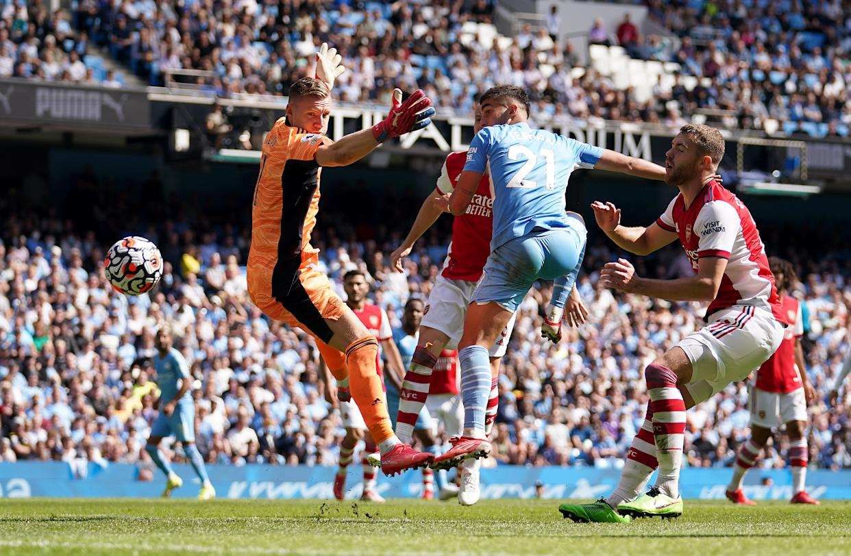 Manchester City's Ferran Torres scores their side's fifth goal of the game during the Premier League match at the Etihad Stadium, Manchester. Picture date: Saturday August 28, 2021. (Photo by Nick Potts/PA Images via Getty Images)