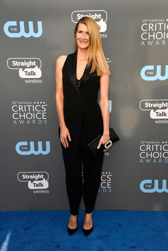 <p>Dern, who won for her role in <em>Big Little Lies</em>, went with a sleek hairstyle nad equally sleek tuxedo jumpsuit. (Photo: Getty Images) </p>