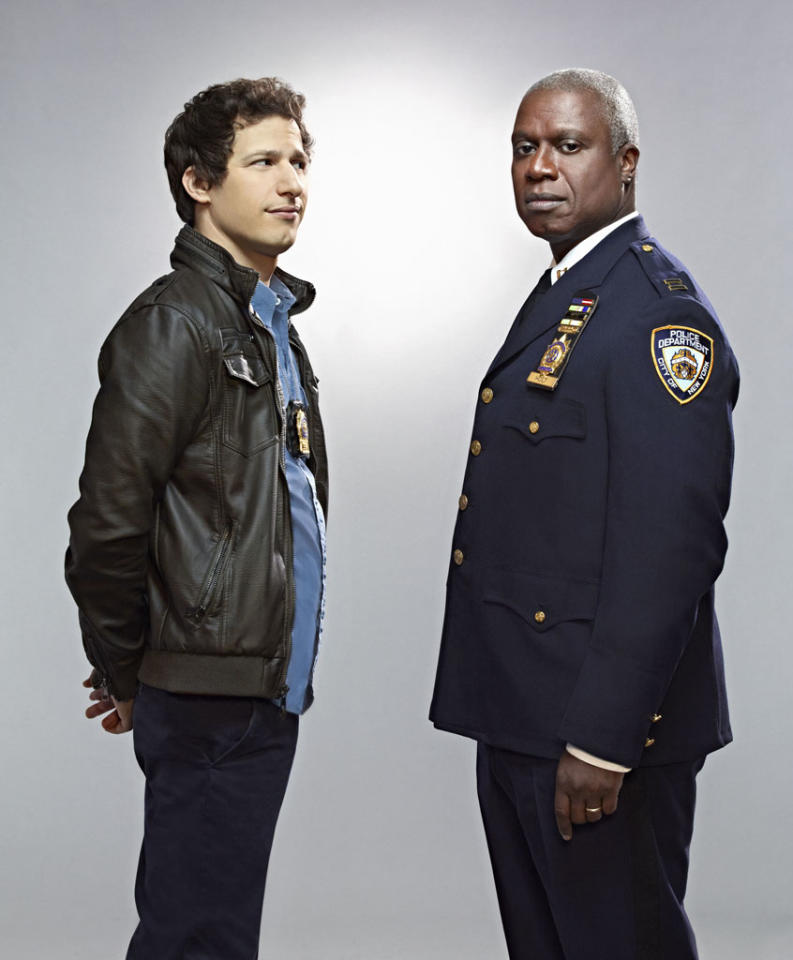 """""""Brooklyn Nine-Nine"""": From Emmy Award-winning writer/producers of """"Parks and Recreation"""" and starring Emmy Award winners Andy Samberg (L) and Andre Braugher (R), """"Brooklyn Nine-Nine"""" is a new single-camera workplace comedy about what happens when a hotshot detective (Samberg) gets a new Captain (Braugher) with a lot to prove. """"Brooklyn Nine-Nine"""" premieres this fall on FOX."""
