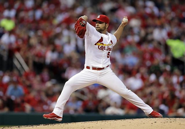 St. Louis Cardinals starting pitcher Jaime Garcia throws during the second inning of a baseball game against the San Francisco Giants, Thursday, May 29, 2014, in St. Louis. (AP Photo/Jeff Roberson)