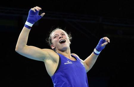Boxing - Gold Coast 2018 Commonwealth Games - Women's 57kg Final Bout - Oxenford Studios - Gold Coast, Australia - April 14, 2018. Skye Nicolson of Australia. celebrates after winning. REUTERS/Athit Perawongmetha