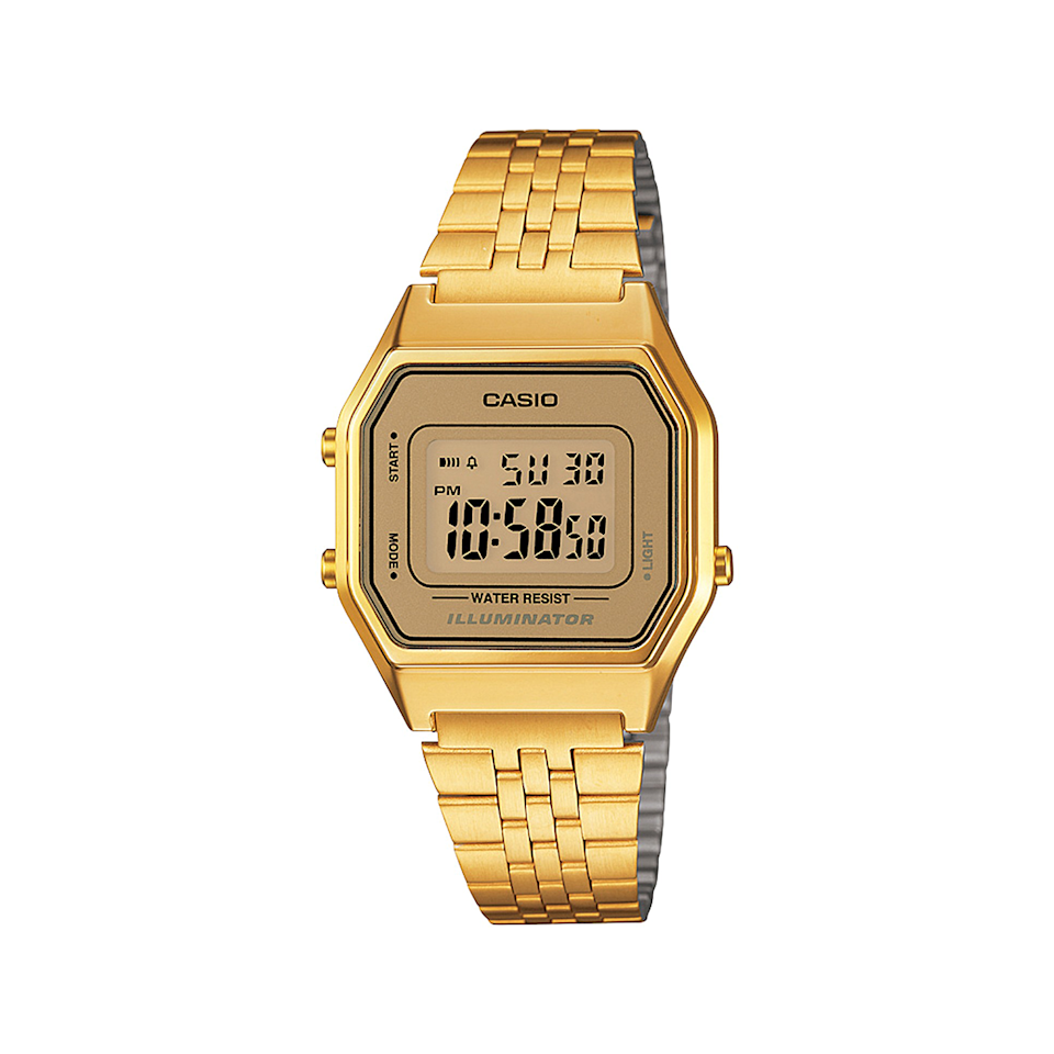 """A little nostalgia never hurt nobody, and this throwback piece is giving us all the uncle-in-a-leather-bomber vibes. $55, Macy's. <a href=""""https://www.macys.com/shop/product/casio-womens-digital-vintage-gold-tone-stainless-steel-bracelet-watch-39x39mm-la680wga-9mv?ID=4639317&CategoryID=23930"""" rel=""""nofollow noopener"""" target=""""_blank"""" data-ylk=""""slk:Get it now!"""" class=""""link rapid-noclick-resp"""">Get it now!</a>"""