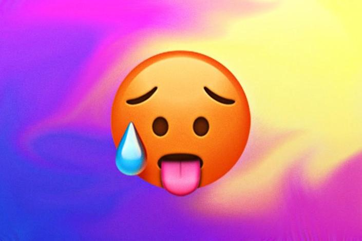 A collage of emoji with the hot face emoji in the center