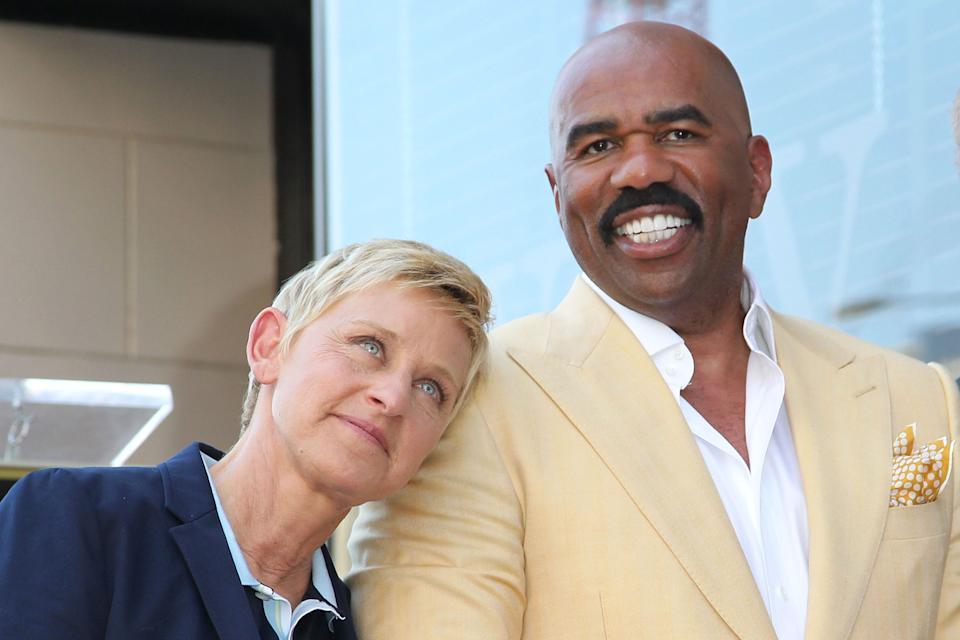 "Ellen DeGeneres and Steve Harvey are friends. <p class=""copyright"">Jonathan Leibson / Getty Images</p>"