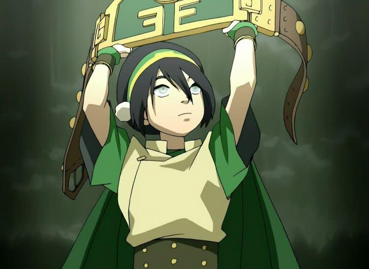 Toph from Avatar: The Last Airbender holds an earthbending fight prize