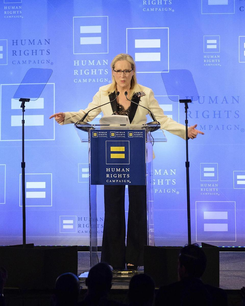 Meryl Streep attends the Human Rights Campaign Greater New York Gala at Waldorf Astoria Hotel on Saturday, Feb. 11, 2017, in New York. (Photo by Christopher Smith/Invision/AP)