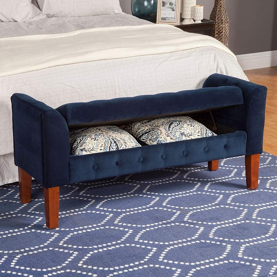 <p>This stylish <span>HomePop Velvet Tufted Storage Bench </span> ($200) comes in so many colors.</p>