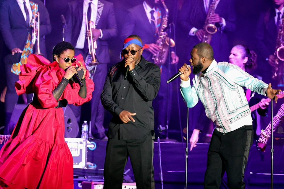 The reunited Fugees performed at Pier 17 in NYC in support of Global Citizen Live.