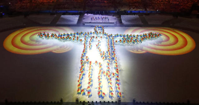<p>Performers take part in the closing ceremony for the 2016 Rio Olympics on August 21, 2016. (REUTERS/Fabrizio Bensch) </p>