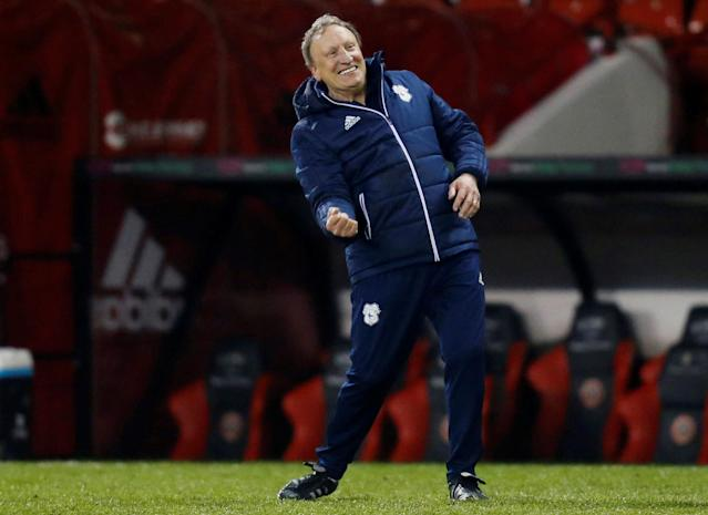 "Soccer Football - Championship - Sheffield United vs Cardiff City - Bramall Lane, Sheffield, Britain - April 2, 2018 Cardiff City manager Neil Warnock celebrates after the game Action Images/Ed Sykes EDITORIAL USE ONLY. No use with unauthorized audio, video, data, fixture lists, club/league logos or ""live"" services. Online in-match use limited to 75 images, no video emulation. No use in betting, games or single club/league/player publications. Please contact your account representative for further details."