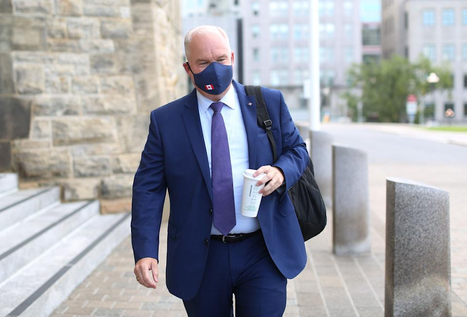 Conservative Party of Canada leader Erin O'Toole arrives on Parliament Hill in Ottawa, Aug. 25, 2020. (Photo: DAVE CHAN/AFP via Getty Images)