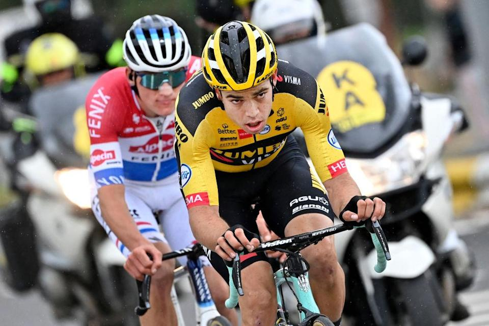 Dutch Mathieu van der Poel of AlpecinFenix and Belgian Wout Van Aert of Team JumboVisma pictured in action during the Ronde van Vlaanderen  Tour des Flandres  Tour of Flanders one day cycling race 241 km from Antwerp to Oudenaarde Sunday 18 October 2020 BELGA PHOTO DIRK WAEM Photo by DIRK WAEMBELGA MAGAFP via Getty Images