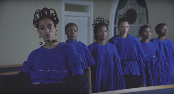 This African-inspired 'do has to be the most epic in the video. (Photo: Columbia Records)
