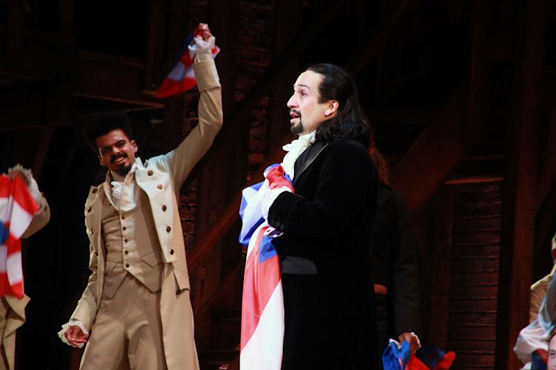 SAN JUAN, PUERTO RICO - JANUARY 27: Lin-Manuel Miranda says goodbye to the audience at the end of the performance at the closing night of 'Hamilton' at Centro de Bellas Artes on January 27, 2019 in San Juan, Puerto Rico. (Photo by Gladys Vega/Getty Images)