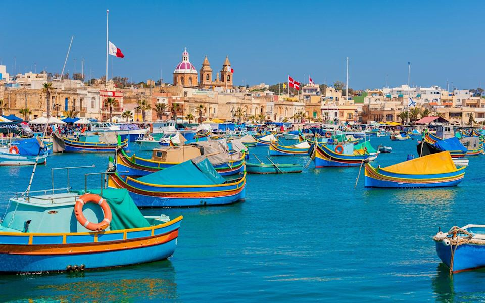 Colourful Boats in Harbour of Marsaxlokk, - Getty