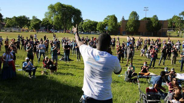 PHOTO: Pastor W. Seth Martin speaks at a prayer unity event in Phelps Park in Minneapolis, Minn. on May 30, 2020. (The Brook Community Church)
