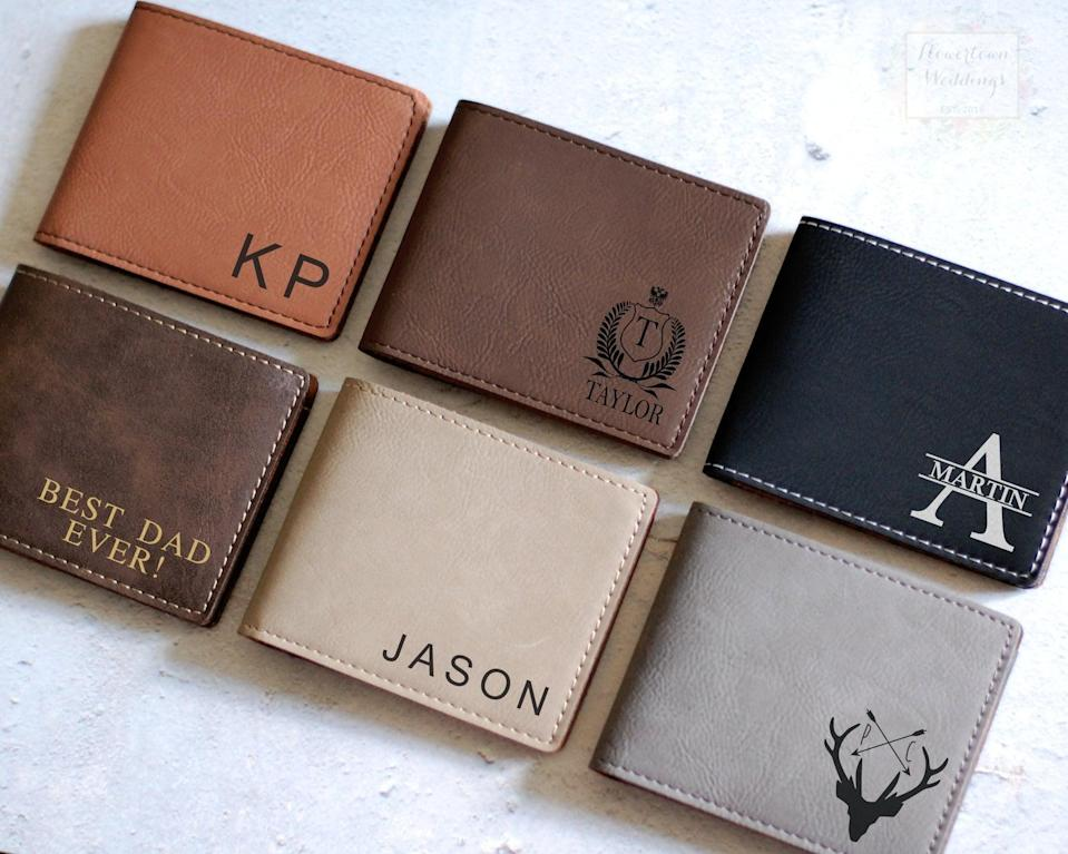 <p>If your dad needs a new wallet, get him the <span>Personalized Wallet</span> ($21, and up) so he'll know how much you love him, especially when he needs to give you cash. </p>