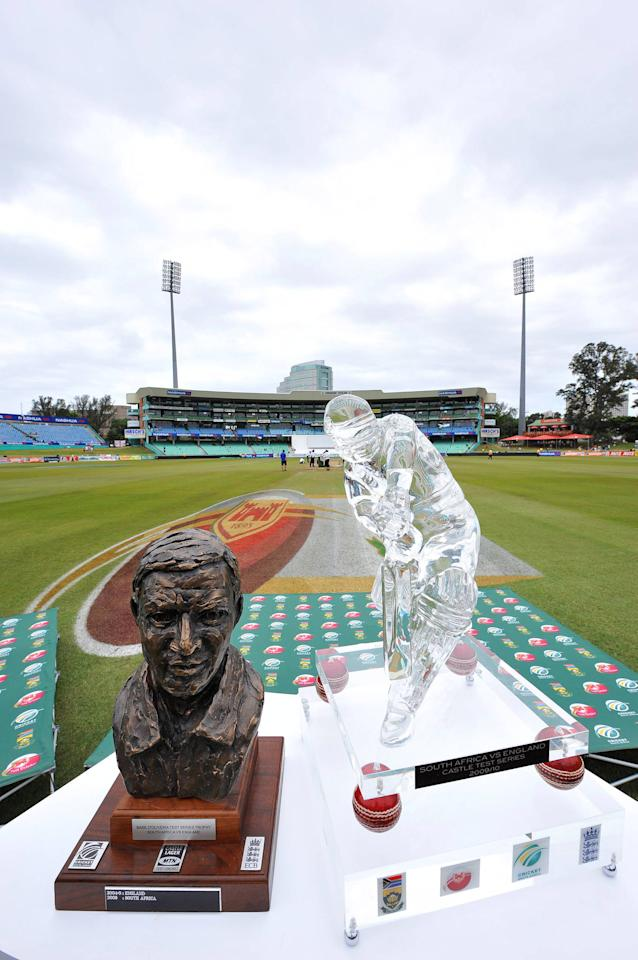 DURBAN, SOUTH AFRICA - DECEMBER 30: (L-R) The Basil D'Oliveira Trophy and the Castle Series Trophy during day five of the 2nd test match between South Africa and England at the Sahara Stadium Kingsmead on December 30, 2009 in Durban, South Africa.(Photo by Duif du Toit / Gallo Images/Getty Images)