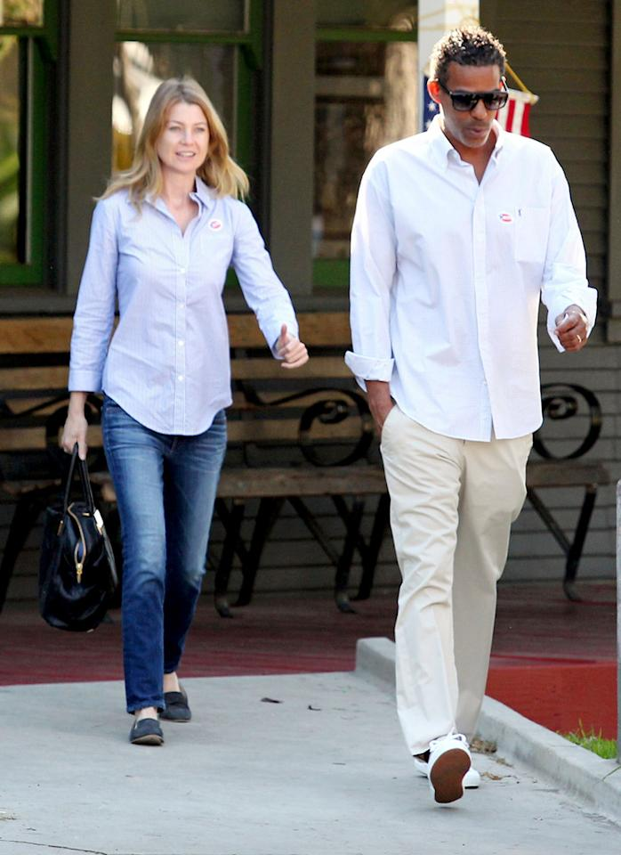 86661, LOS ANGELES, CALIFORNIA - Tuesday November 6, 2012. Actress Ellen Pompeo and husband Chris Ivery proudly get out to vote at their polling location in Los Angeles.  Photograph: © Survivor, PacificCoastNews.com **FEE MUST BE AGREED PRIOR TO USAGE** **E-TABLET/IPAD & MOBILE PHONE APP PUBLISHING REQUIRES ADDITIONAL FEES** LOS ANGELES OFFICE: 1 310 822 0419 LONDON OFFICE:  44 208 090 4079