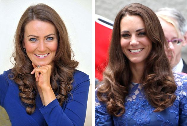 """<div class=""""caption-credit""""> Photo by: BPM/GettyImages</div><div class=""""caption-title""""></div>With her bright eyes and wavy chestnut hair, the 32-year-old mother of two from Corby, Northamptonshire, is a dead ringer for the Duchess of Cambridge, even though Agan's eyes are sky blue and not hazel. <br> <br> <a rel=""""nofollow"""" href=""""http://shine.yahoo.com/fashion/fan-art-false-advertising-marie-claires-fake-kate-180400016.html"""">Related: Marie Claire's fake Kate cover: Fan art or false advertising?</a> <br> <br>"""